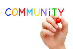 Community Concept. Hand writing Community with marker on transparent wipe board Stock Images