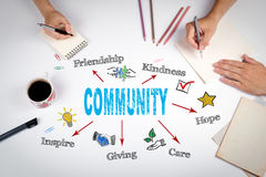Community Concept. The meeting at the white office table Royalty Free Stock Photos