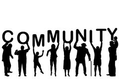Community concept with people silhouettes Royalty Free Stock Photography