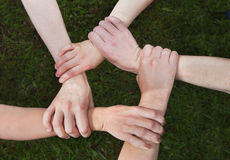 Community concept. Community or society concept, hands of group of people together stock image