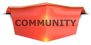 Banner community. Community 3D rendered red banner , isolated on white background Stock Image