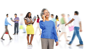 Community Diversity People Shopping Online Technology Concept royalty free stock photography