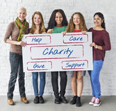 Community Donations Fundraising Volunteer Concept. Diverse Community Donations Fundraising Volunteer Stock Images