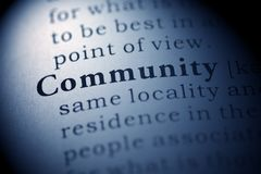 Community. Fake Dictionary, Dictionary definition of the word Community royalty free stock image