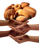 Community Feed The Poor. Assistance concept with a group of charitable hands representing diverse groups of people cooperating together to provide bread or food royalty free illustration