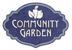 Community Garden Sign Vintage English. Enamel Retro Tin metal blue rustic plaque vector illustration