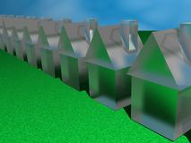 Community of glass houses. A 3d illustration of a community of glass houses on grass with a sky background Stock Photo