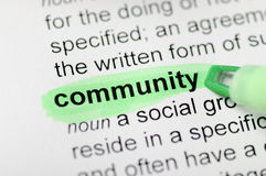 Community. Green marker on community word royalty free stock image