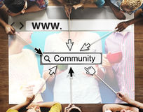 Community-Gruppen-Website-Webseiten-on-line-Technologie-Konzept lizenzfreies stockbild