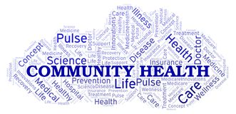 Community Health word cloud. Wordcloud made with text only royalty free illustration