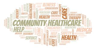 Community Healthcare word cloud. stock illustration