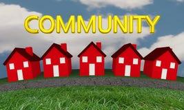 Community Homes Houses Neighborhood Street. 3d Illustration Stock Photography