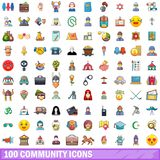 100 community icons set, cartoon style. 100 community icons set. Cartoon illustration of 100 community vector icons isolated on white background Stock Photos