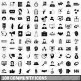 100 community icons set, simple style. 100 community icons set in simple style for any design vector illustration Royalty Free Stock Photo