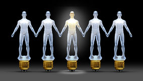 Community Ideas. With a group of light bulbs shaped as business people holding hands with a leader person illuminated shinning bright as a concept of creative Stock Photos