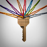 Community Key. Or network password concept as a group of diverse ropes connected to a security symbol as a social protection metaphor for team success support Stock Images