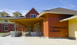 Community Library. Exterior of a public library in a small American town stock photo