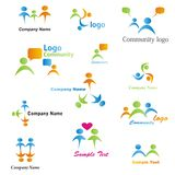 Community Logos Set. Community, network and social icon set. Collection of 12 design elements inspired by people, family, love and togetherness Stock Photos