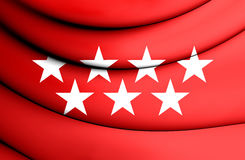Community of Madrid Flag, Spain. Close Up Stock Photography