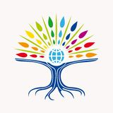 Community manager education world tree concept. With colorful abstract leaves and earth icon illustration. EPS10  file organized in layers for easy editing Stock Photo