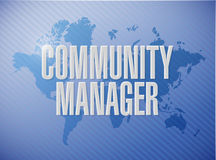 Community Manager world map sign concept Stock Photos