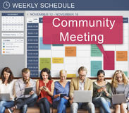 Community Meeting Gathering Planning Cooperation Conference Concept. Community Meeting Gathering Planning Cooperation Conference stock images