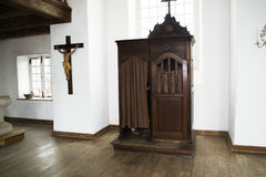 Community Military Chapel Confessional Louisbourg  Canadian National Historic Site Royalty Free Stock Photo