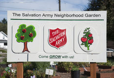 Community Neighborhood Garden Sign. Summer 2014 Neighborhood Community Garden of The Salvation Army, Tacoma Corps in the Northwest Division. Tacoma, Washington royalty free stock image