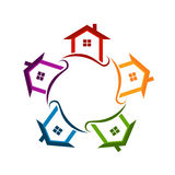 Community neighborhood houses logo. Circle of houses. Concept of community Royalty Free Stock Photo