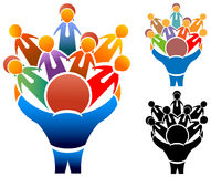 Community network. Social partnership group community network icon logo stock illustration