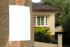 Community Notice. Blank Flyer awaiting your message on a tree trunk in the middle of middle class suburb royalty free stock image