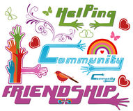 Community and other Icons. Community , helping, friendship text with extending hands - love service concept Stock Photo