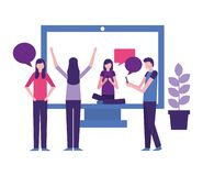 Community people activity. Community activity computer woman sitting people chat vector illustration royalty free illustration
