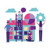 Community people activity. Community activity smartphone graph wheels people using telephone vector illustration vector illustration