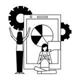 Community people activity. Community activity smartphone graph wheels people using telephone vector illustration vector illustration royalty free illustration