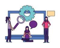 Community people activity. Community activity tablet magnifying glass wheel plant girls talking vector illustration vector illustration