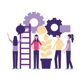 Community people activity. Community activity wheel stairs plant people talking vector illustration vector illustration