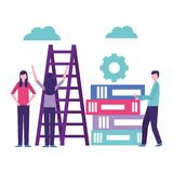 Community people activity. Community activity wheel woman stairs up man with books vector illustration royalty free illustration