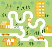 Community of people in city. Illustration of different people living in a modern city stock illustration