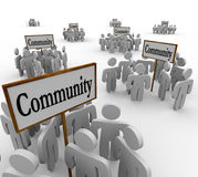 Community People Groups Around Signs Society Friendship Neighbor. Community people gathered around signs to illustrate groups of friends, neighbors, colleagues vector illustration