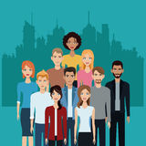 Community people team together city background Stock Photo