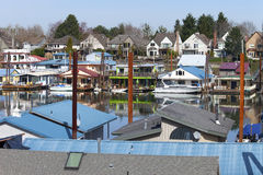 A community on the river and land, Portland OR. Royalty Free Stock Photo