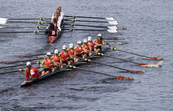 Community Rowing (56) trys to overtake Hingham Royalty Free Stock Photography