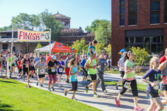 Community runners begin 5K charity run. Corvallis, OR, May 7 2016: Community runners begin 5K run for Center Against and Domestic Violence stock image