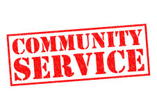 COMMUNITY SERVICE. Red Rubber Stamp over a white background Stock Photos