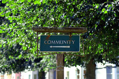 Community sign. Old sign, pointing out the community Royalty Free Stock Image