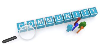 Community. Spelled in blue kids toy blocks with 3D figures and magnifying glass Stock Photo