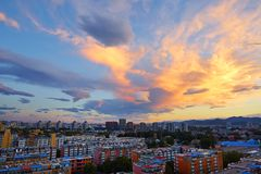 Community sunset, Beijing Royalty Free Stock Photography