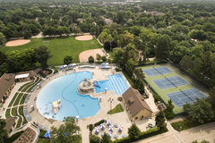 Community Swimming Pool and Park Aerial Royalty Free Stock Image