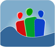Community Symbol. A symbolic illustration of three persons. Useful to illustrate teamwork or a community stock illustration